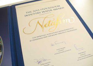 kalligrafi. Stockholm Industry Water Award diplom, 2013