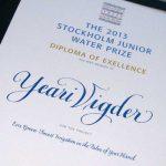 kalligrafi. Stockholm Junior Water Prize diplom, 2013