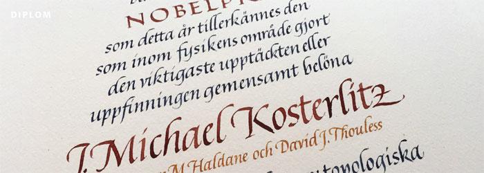 kalligrafi, nobelpris, fysik 2017