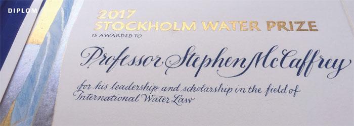 kalligrafi. Stockholm Water Prize diplom, 2017