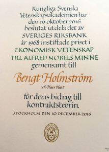 Nobelpris i ekonomi 2016