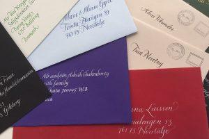 kalligrafi, handskrivna adresser