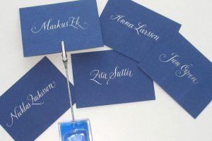 kalligrafi, placeringskort SWP bankett