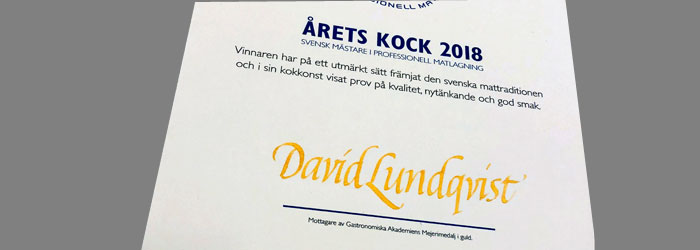 årets kock 2018, kalligrafi