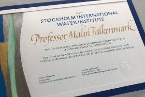 kalligrafi, hedersdiplom till Malin Falkenmark, SIWI