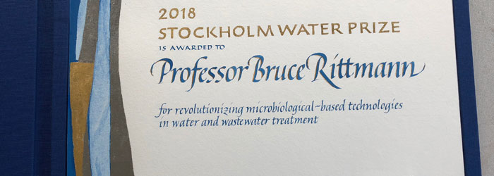 kalligrafi. Stockholm Water Prize diplom, 2018